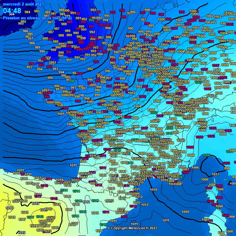 actuele luchtdruk west-europa