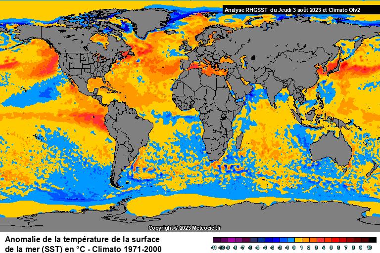Anomalie de la température de la mer (SST) dans le monde