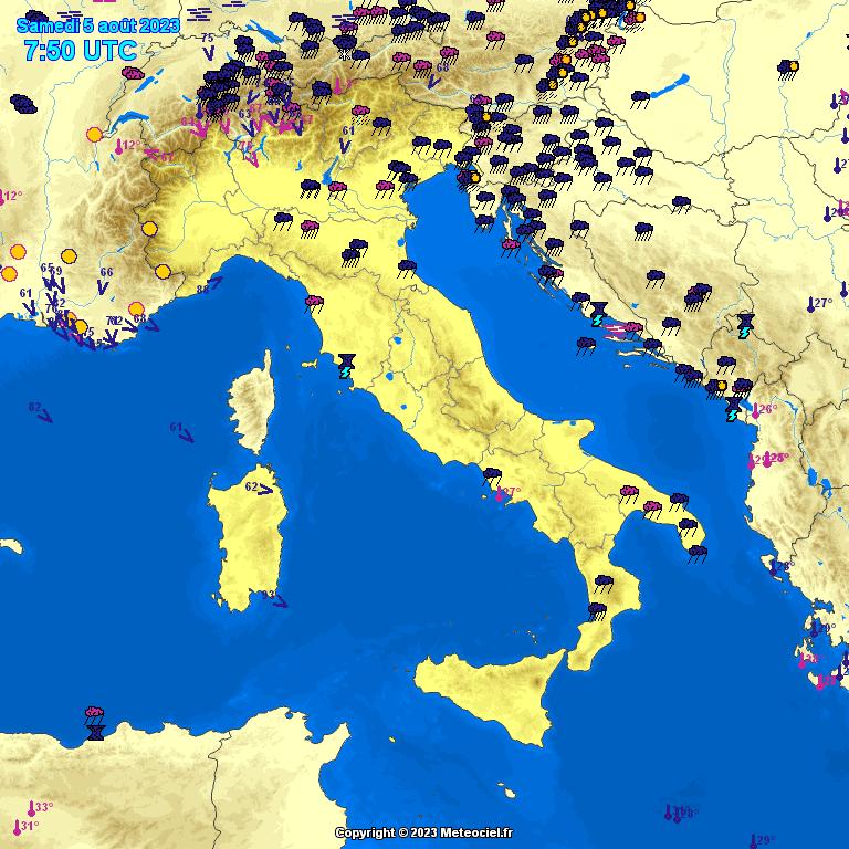 Meteociel Observations M T O En Temps R El En France Italie