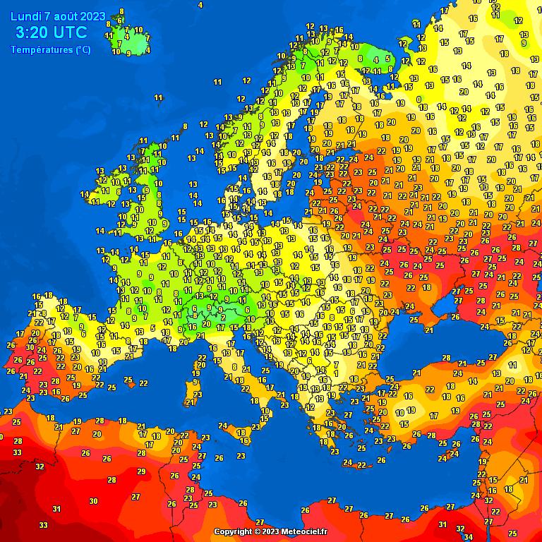 Europa - Actuele Temperaturen