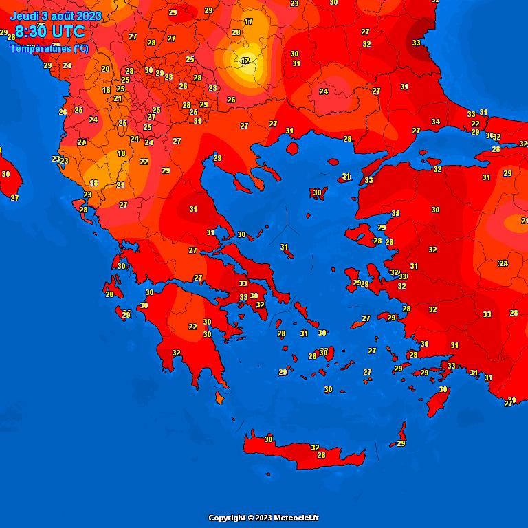 temperature en grece