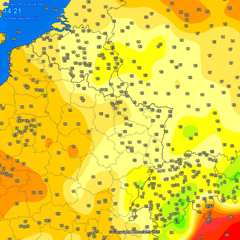 carte températures belgique